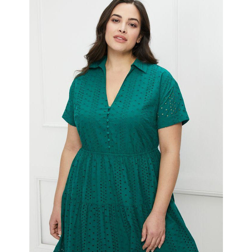 Eloquii Elements Tiered Eyelet Dress