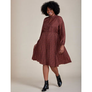 Eloquii Elements Tie Neck Pleated Dress
