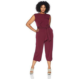 London Times Cap Sleeve Crepe Jumpsuit