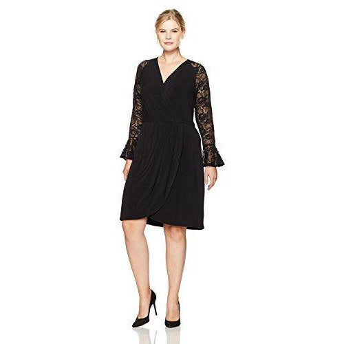 London Times Lace Wrap Dress