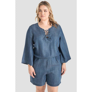 Barbie Bell Sleeve Lace-Up Denim Romper