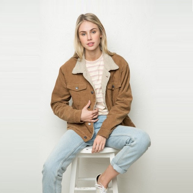 Casual Brown Corduroy Denim Jacket - YOUTAAS