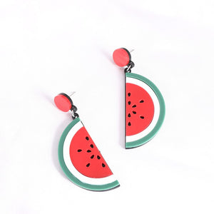 Watermelon Slices Semicircle Earrings
