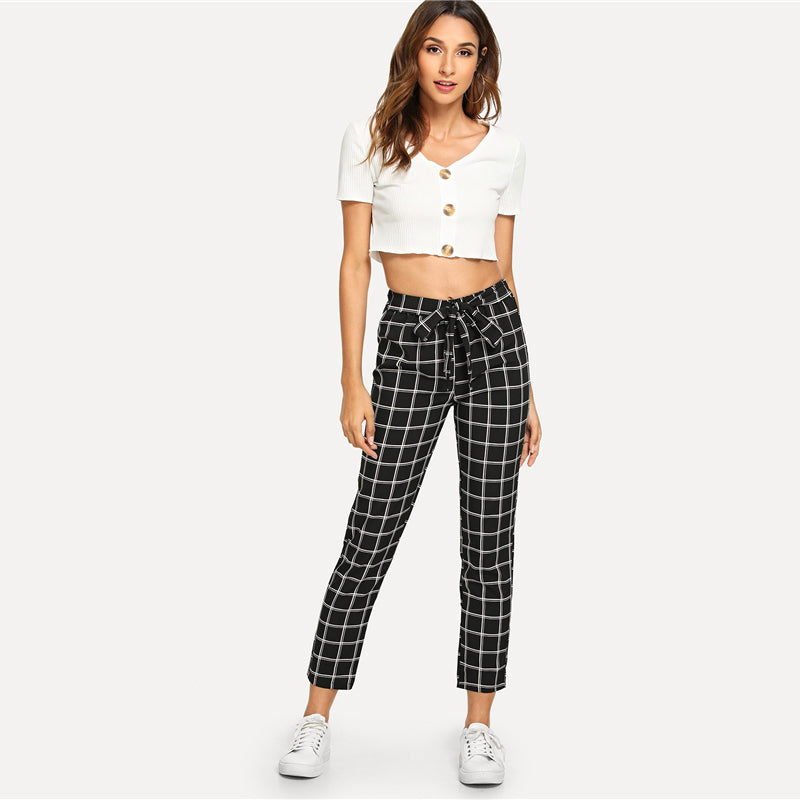 Black Knot Front Plaid Pants - YOUTAAS