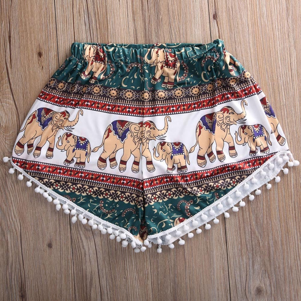 Casual Tassel Trim Print Shorts - YOUTAAS