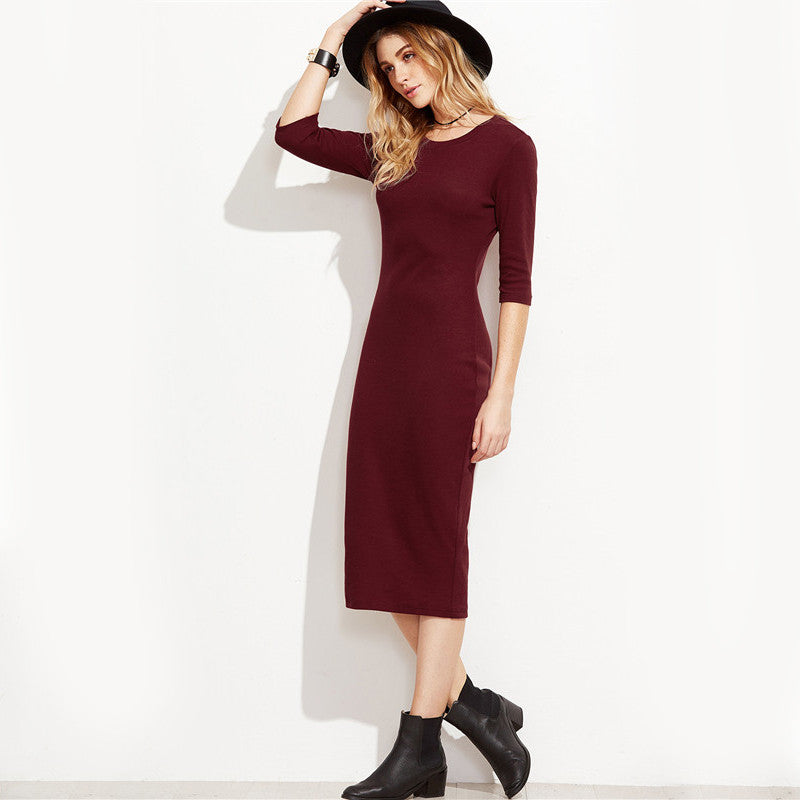 Burgundy Bodycon Office Ladies Dress - YOUTAAS