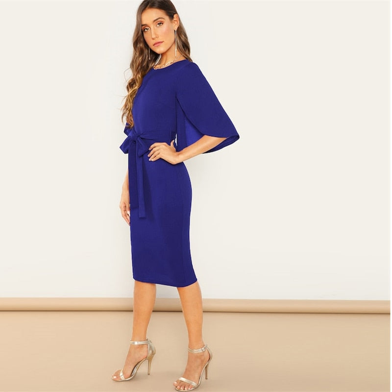 Half Sleeve Office Midi Ladies Dresses - YOUTAAS