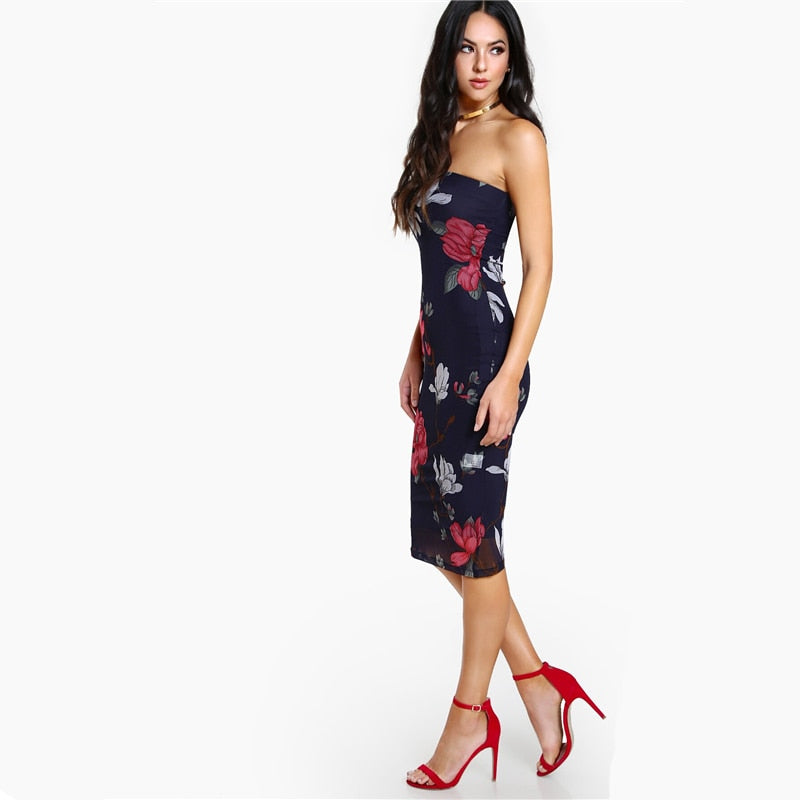 Navy Floral Print Bandeau Bodycon Dress - YOUTAAS