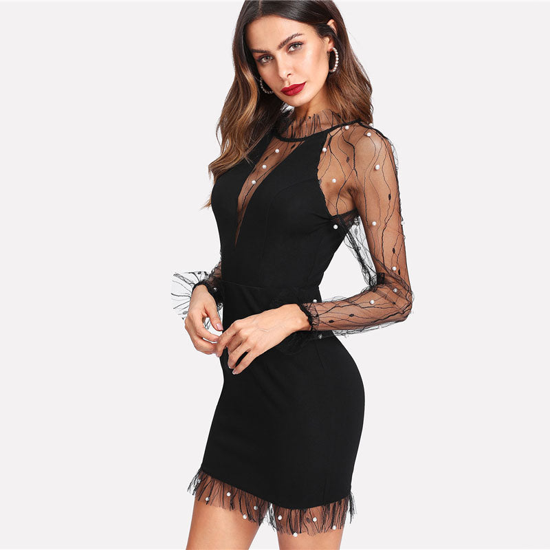 Black Pearl Beading Vine Mesh Panel Dress - YOUTAAS