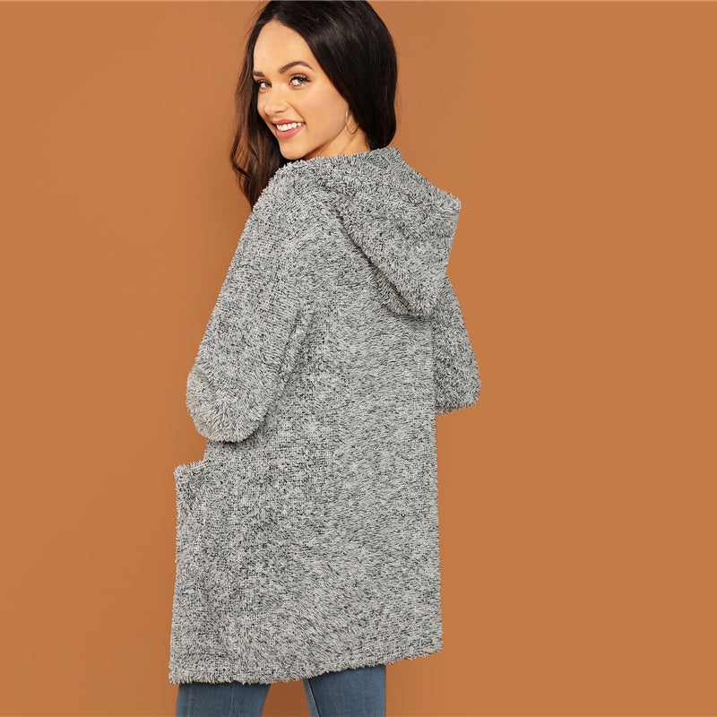 Grey Hooded Pocket Patched Marled Teddy Jacket - YOUTAAS