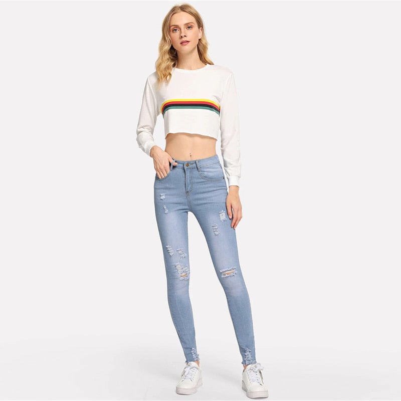 Blue Knee Rips Frayed Edge Skinny Jeans