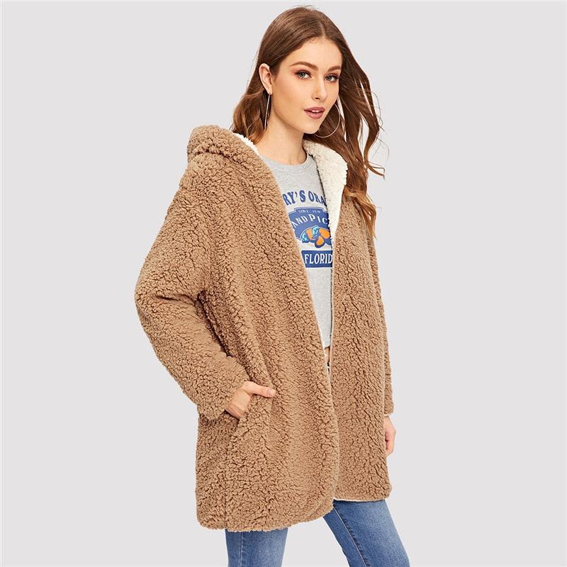 Camel Reversible Elegant Teddy Coat - YOUTAAS