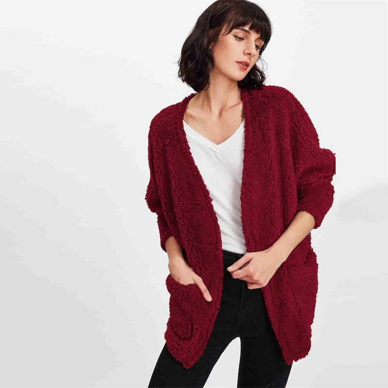 Burgundy Pocket Cardigan Faux Fur Teddy Coat - YOUTAAS