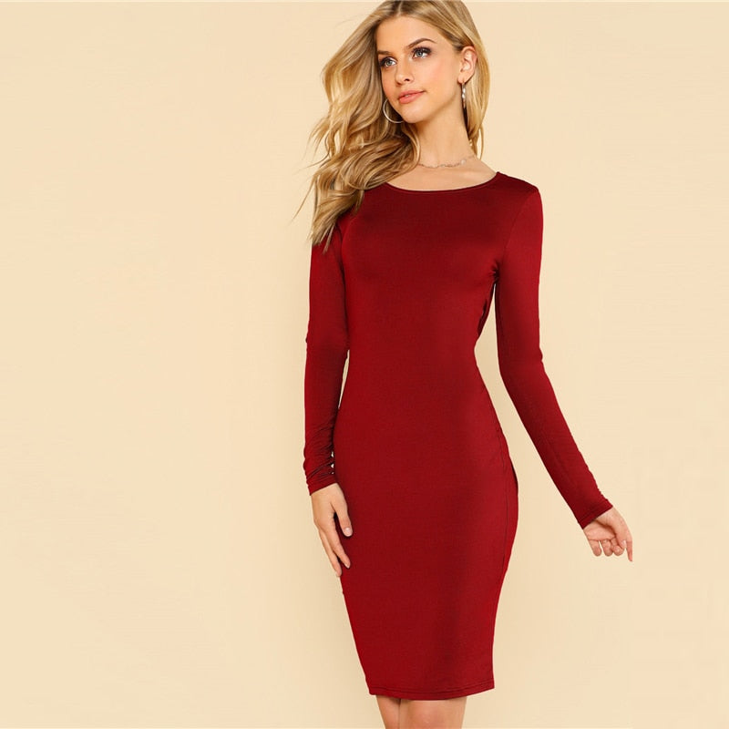 Backless Split Twist Bodycon Dress - YOUTAAS