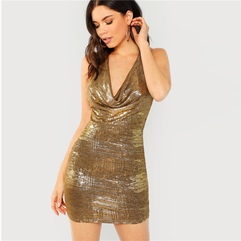 Gold Solid Halter Backless Draped Dress - YOUTAAS