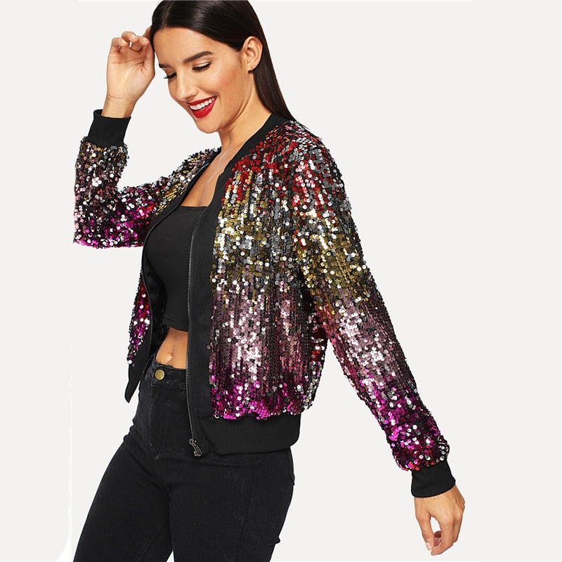 Zip-Up Sequin Casual Crop Winter Jacket