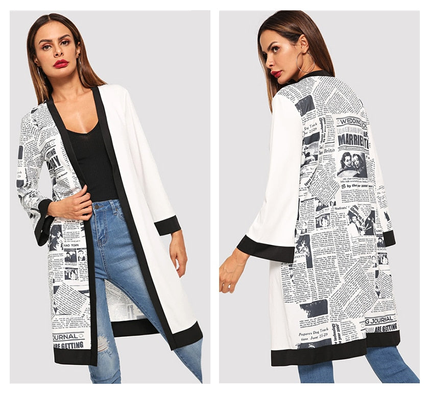 Beige Letter Print Long Sleeve Coats - YOUTAAS