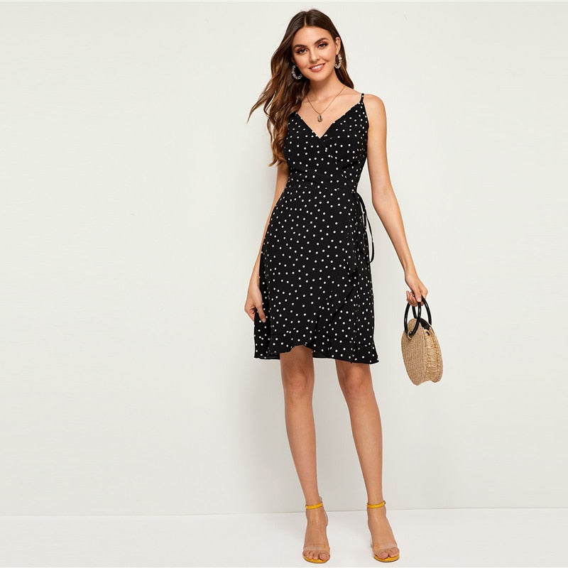 Polka Dot Print Cami Boho Dress - YOUTAAS