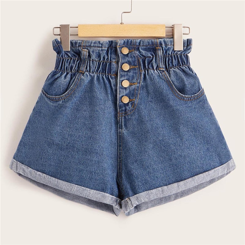 Blue Elastic Waist Rolled Hem Denim Shorts - YOUTAAS