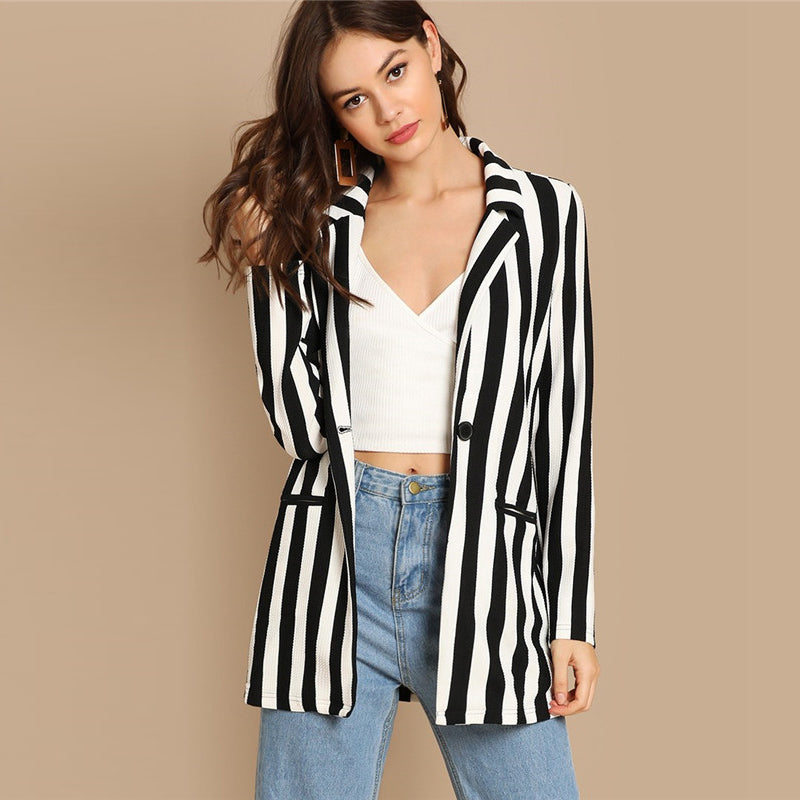 Black And White Casual Jacket - YOUTAAS