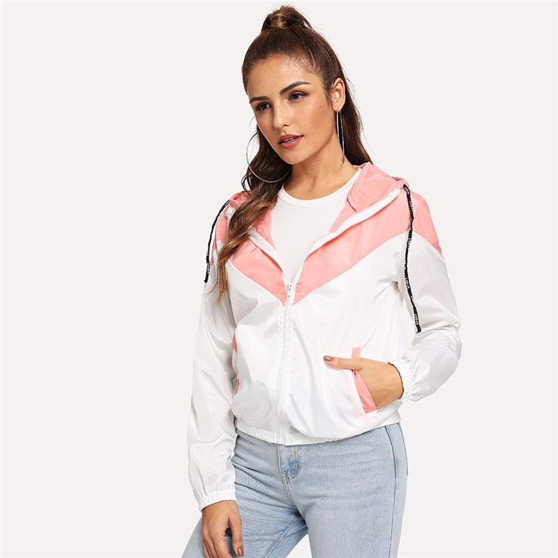 Hooded Zip Up Pink Jacket - YOUTAAS