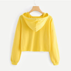 Yellow Letter Drop Shoulder Hoodie