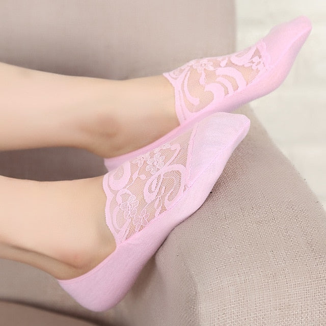 youtaas - Lace Flower Short Socks