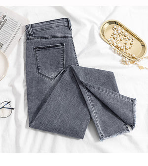 Gray Denim Elastic Trousers