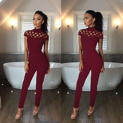 Hollow Out Playsuit Bodycon Party Jumpsuit