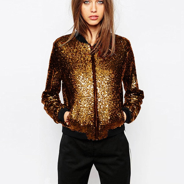 Sequin Bomber Jacket Long Sleeve Zipper Coat - YOUTAAS