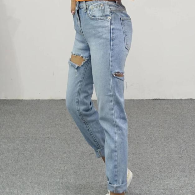 youtaas - High Waist  Ripped Mid Calf Jean