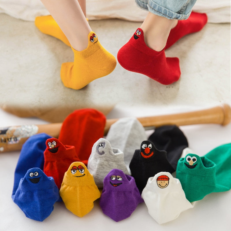 youtaas - Ankle Funny Embroidered Expression Socks