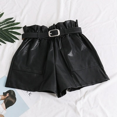 High Waist Elasticity PU Leather Shorts - YOUTAAS