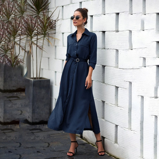 Long Sleeve Maxi Dress A line Empire Dress - YOUTAAS