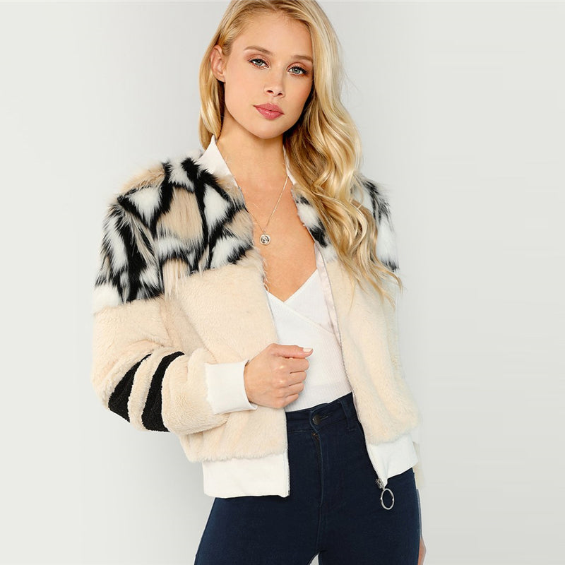 O-Ring Zip Up Faux Fur Coat - YOUTAAS