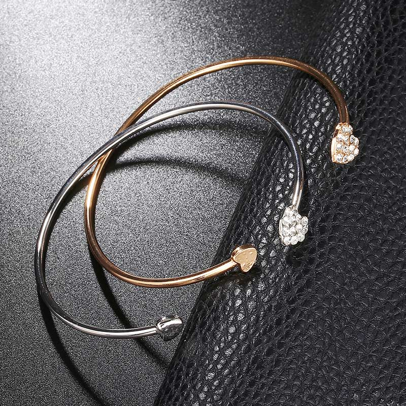 Simple Metal Double Heart Crystal Bracelets