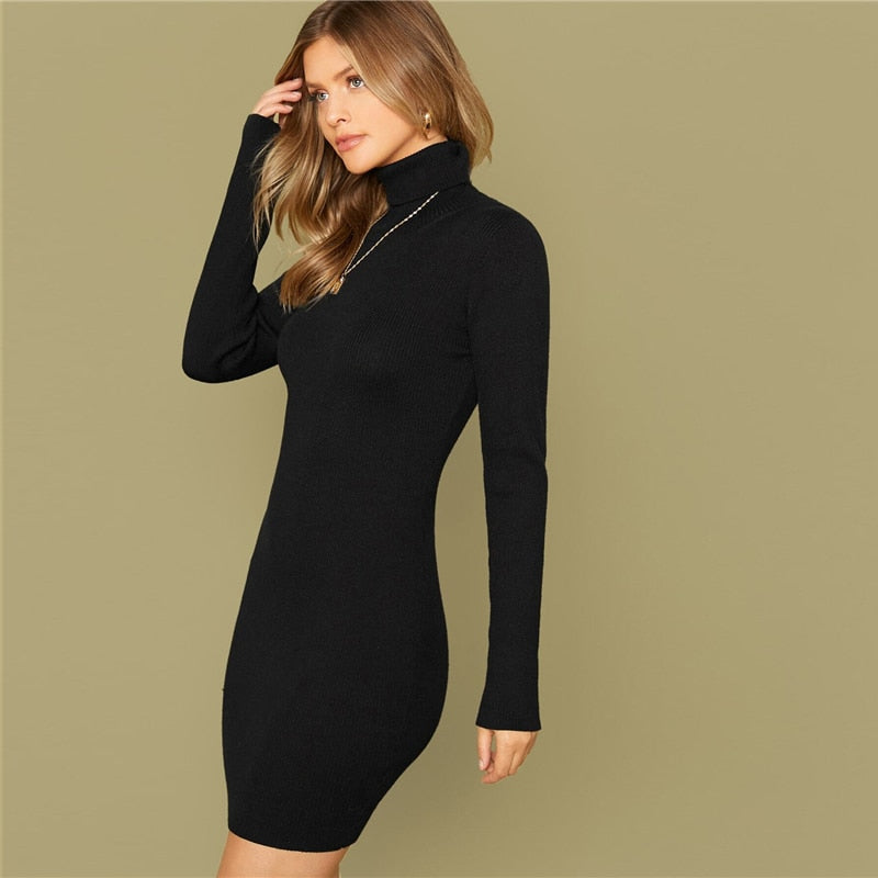 Solid Slim High Neck Sweater Dress