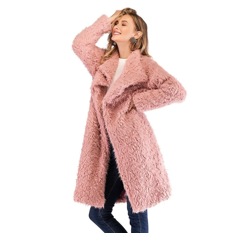 Pink Waterfall Collar Solid Teddy Coat - YOUTAAS