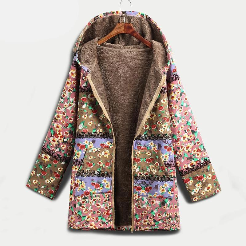 Floral Print Faux Fur Lining Hooded Jacket - YOUTAAS