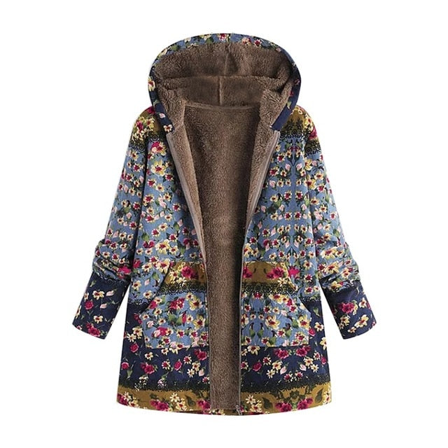 Floral Print Faux Fur Lining Hooded Jacket
