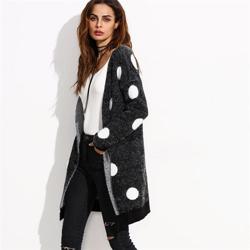 Polka Dot Open Front Long Sweater Coat - YOUTAAS