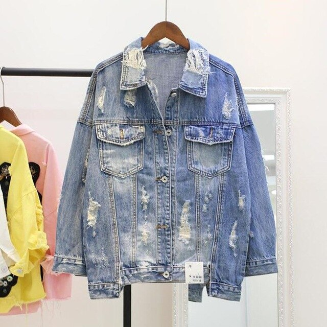 Frayed Ripped Hole Jean Jacket - YOUTAAS