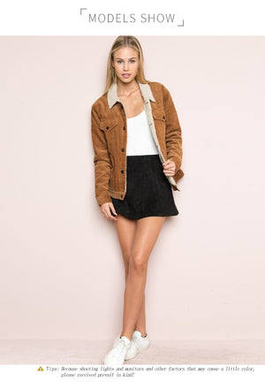 Casual Brown Corduroy Denim Jacket