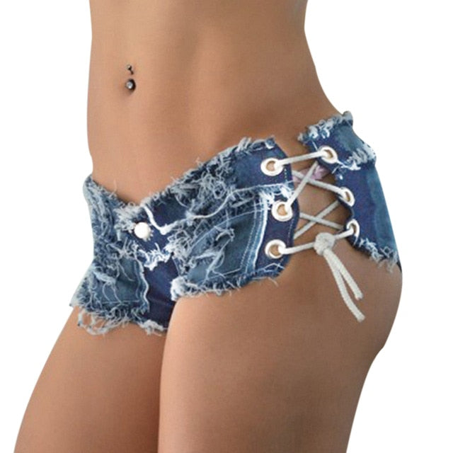 Denim Cotton Bandage Shorts - YOUTAAS