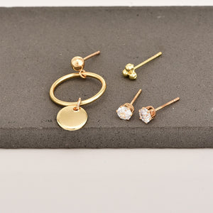 Porous Set Suit Crystal Stud Earrings