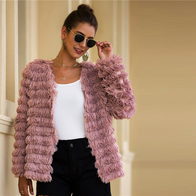 Pink Faux Fur Open Front Solid Coat - YOUTAAS