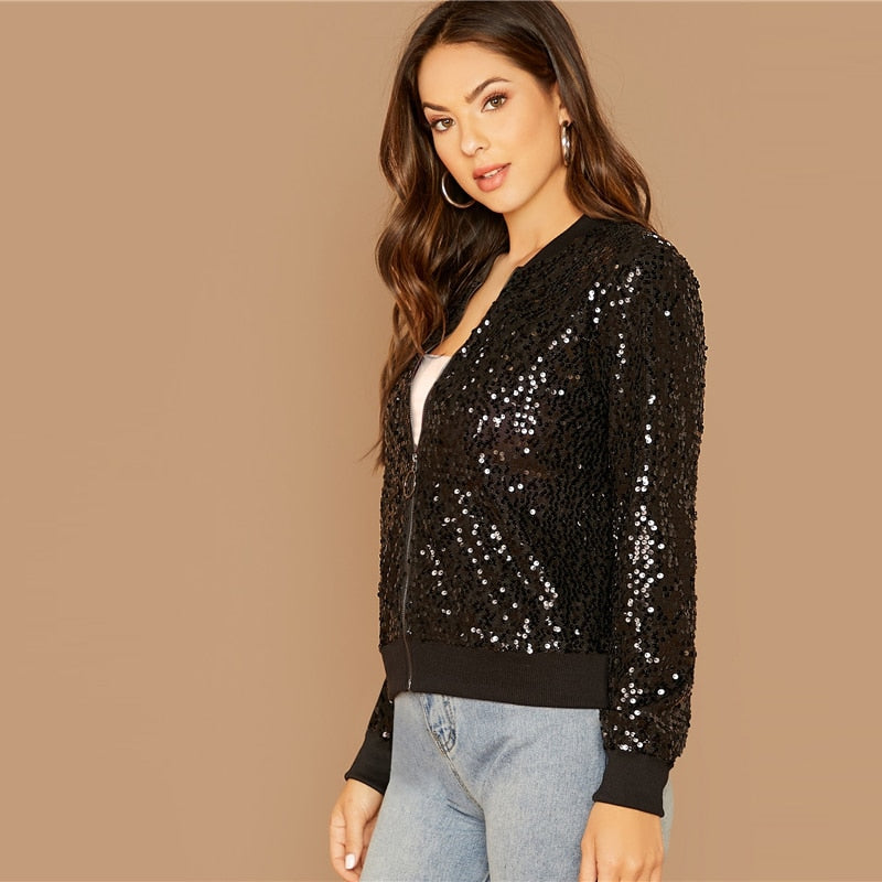 Black Zipper Front Sequin Bomber Jacket - YOUTAAS