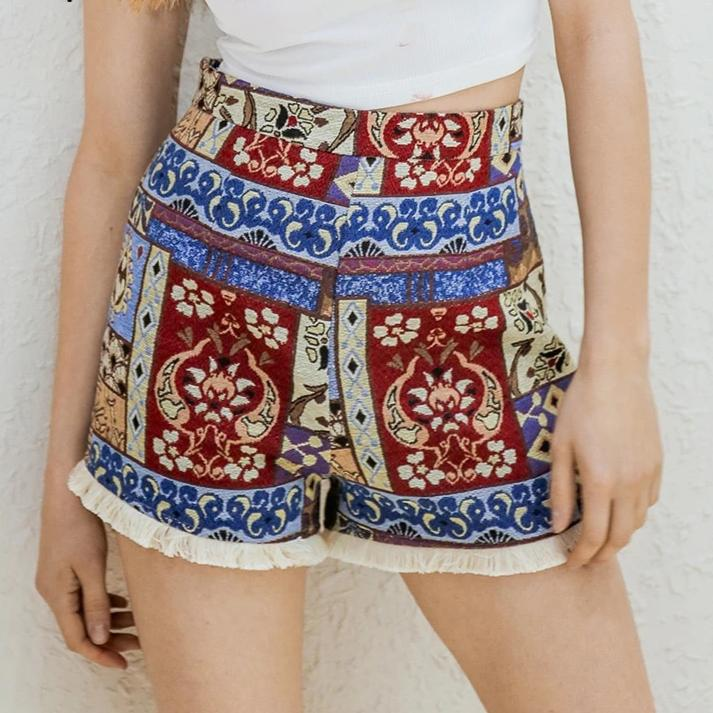 Fringe ethnic flower shorts - YOUTAAS
