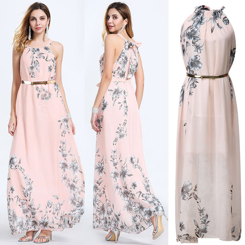 Long Formal Prom Dress + Belt - YOUTAAS