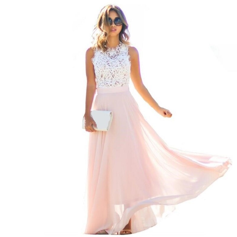 Evening Party Boho Sleeveless Lace Maxi Dress - YOUTAAS